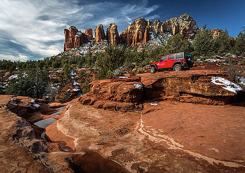 Rick Strobaugh - Red Jeep on the Rocks