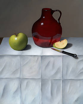 Red Jug with Apples by Christa Eppinghaus