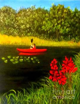 Red Kayak by Peggy Miller