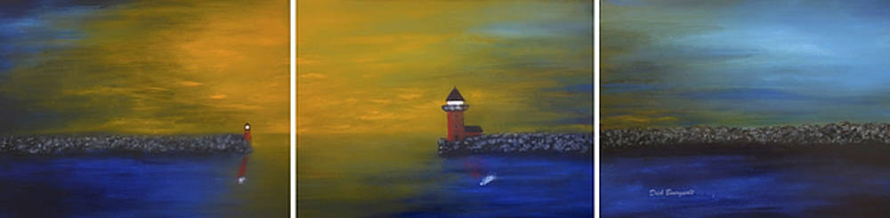 Red Lighthouse Triptych by Dick Bourgault