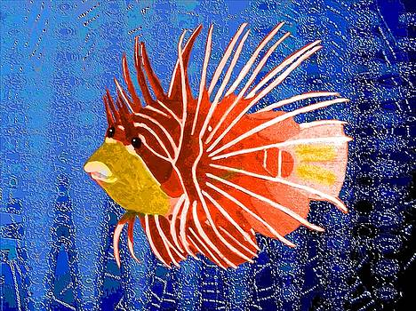 Red Lion fish in the deep blue by Jeanette Lindblad