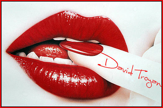 Red Lips Girl by David  Troyan Photography Studios
