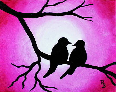 Red Love Birds Silhouette by Bob Baker