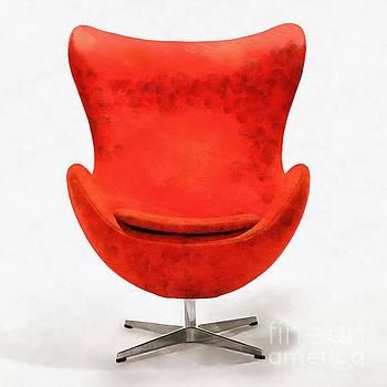 Red Mid Century Modern Chair by Edward Fielding