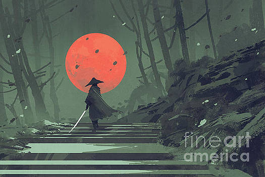 red moon night by