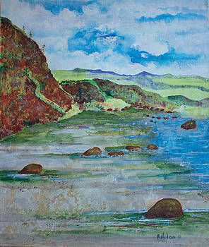 Red Mountain and Ocean by Martine Bilodeau