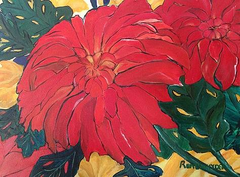 Red Mums by Barbara Remensnyder