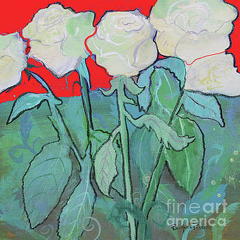 Red Night White Tea Roses by Robin Maria Pedrero