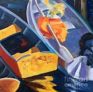 Red, Orange, Yellow, Rockport Marina by Lynne Schulte