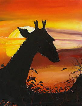 Red Orange Yellow Sunset Of Africa by Portland Art Creations