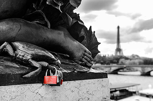 Red Padlocks in Paris by Paul Warburton