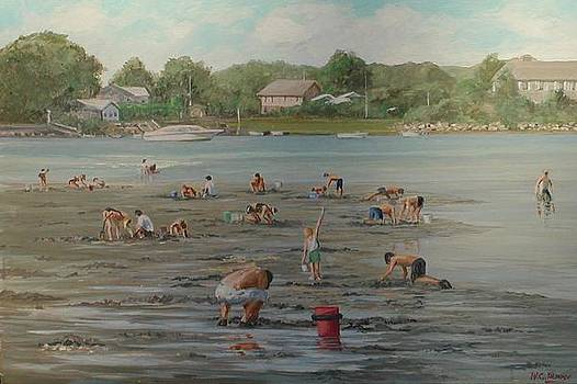 Clam Diggers RI shore by Perrys Fine Art