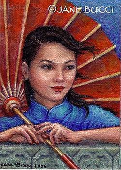 Red Parasol Girl by Jane Bucci