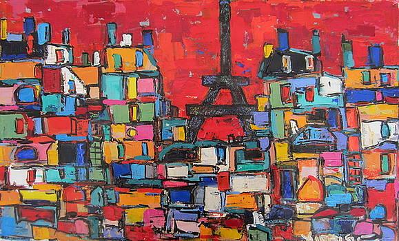 Red Paris Eiffel  by Len Yurovsky