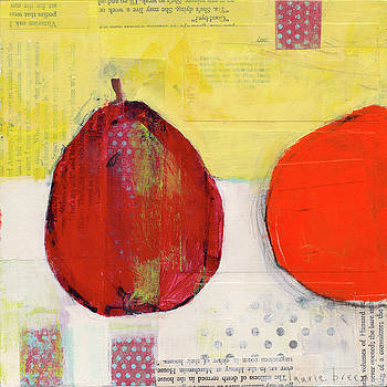 Red Pear And Orange by Laurie Breen