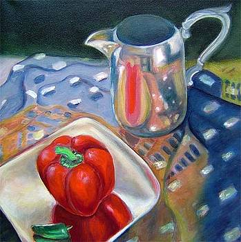 Red pepper scarf and silver vase by Gayle Bell