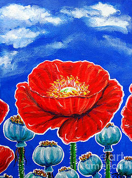 Red Poppies and Pods Cloudy Sky Flowers Wildflowers  by Jackie Carpenter
