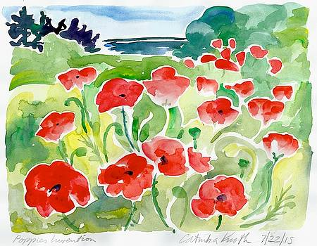 Red poppies coastal scene watercolor  by Catinka Knoth
