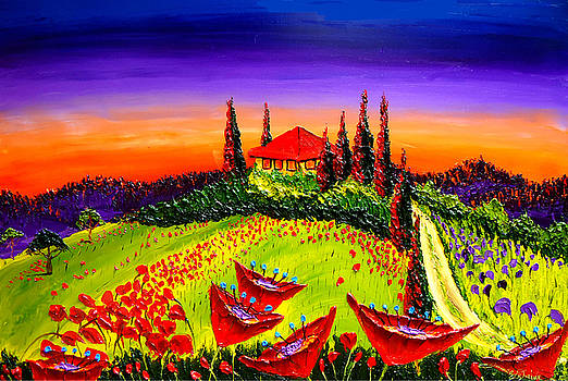 Red Poppies Of Tuscany AT Dusk #6 by Portland Art Creations