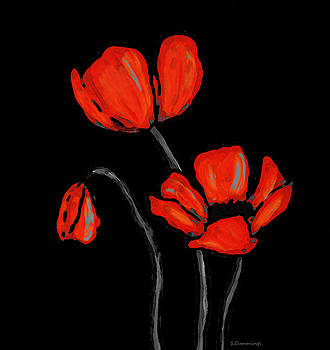 Sharon Cummings - Red Poppies On Black by Sharon Cummings