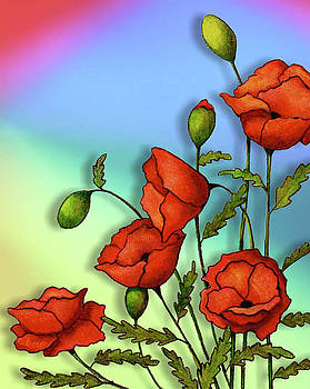 Red Poppies on Multi-Colored Background by Joyce Geleynse