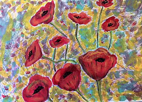 Red Poppies by Soheila Madani