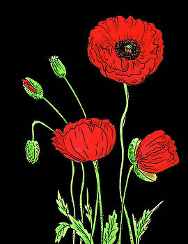 Red Poppy Flowers Watercolour by Irina Sztukowski