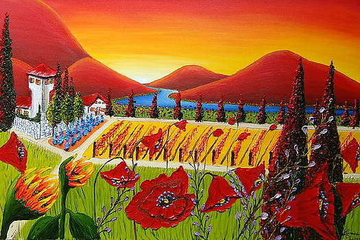 Red Poppy Wine Vineyard Of Tuscany 2 by Portland Art Creations