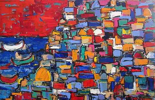 Red Positano Italy by Len Yurovsky