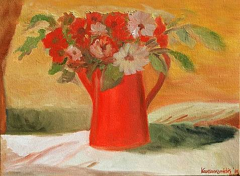 Red Pot and flowers by Kostas Koutsoukanidis