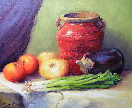 Red Pot in Still Life by Edna Garrett