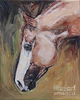 Red Roan horse by Maria's Watercolor