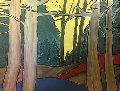 Red Rock In Woods by Paula Brown