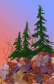 Red Rocks and Spruce by Teresa Ascone