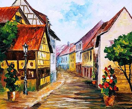 Red Roof - PALETTE KNIFE Oil Painting On Canvas By Leonid Afremov by Leonid Afremov