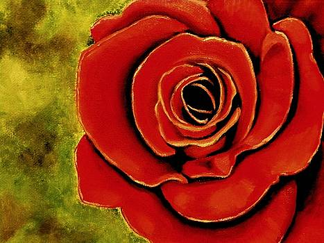 Red Rose Blooms by Victoria Rhodehouse