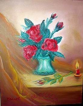 Red Roses Red Candle by M Bhatt