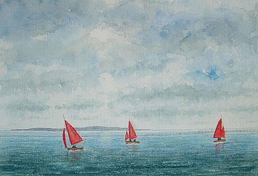 Red Sails and Hilbre Island by Peter Farrow