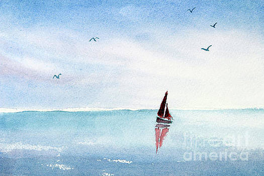 Red Sails on a Blue Sea by Pattie Calfy