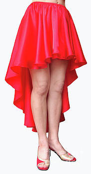 Sofia Metal Queen - Red satin high-low skirt. Ameynra design. pic-1