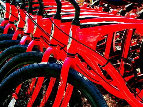 Red Schwinn Bikes by Katy Hawk