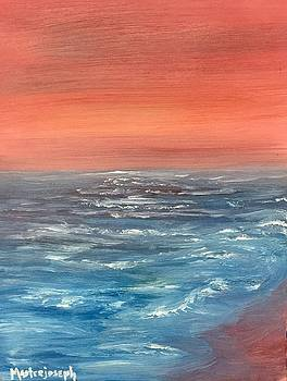 Red Sky Abstract Seascape by Anthony Masterjoseph