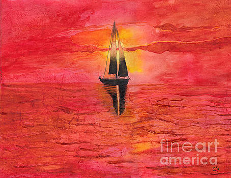 Red Sky at Night Sailors Delight Watercolor by Conni Schaftenaar