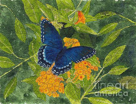 Red Spotted Purple Butterfly Batik by Conni Schaftenaar