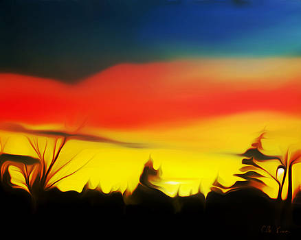 Claude Beaulac - Red Sunrise in Parksville Dreamy Mirage