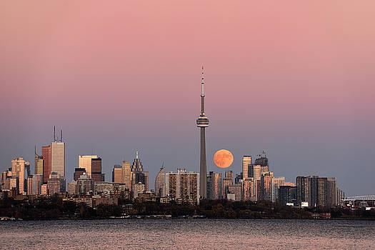 Reimar Gaertner - Red supermoon rising over Toronto cityscape on November 13 2016