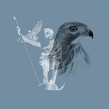 Red-Tailed Hawk with The Independant Man by Peter Green
