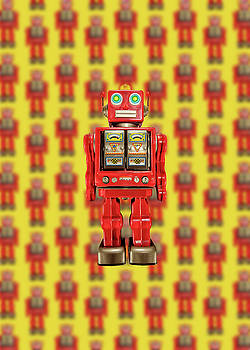 Red Tin Toy Robot Pattern by YoPedro