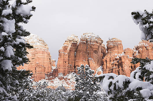 Red Towers under Snow by Laura Pratt