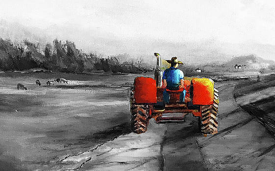 Red Tractor in a Foggy Morning by Daniel Xiao